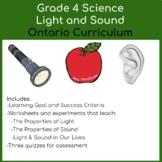 Grade 4 Science - Light and Sound Unit - Ontario Curriculum GOOGLE SLIDES