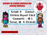 Grade 4 Science Report Card Comments, ALL 3 TERMS!
