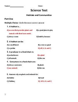 Grade 4 Science Test - Habitats and Communities