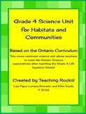 Grade 4 Science Unit (Habitats & Communities) for Ontario