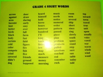 Grade 4 Sight Words, Word Wall