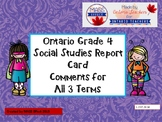 Grade 4 Social Studies Report Card Comments, ALL 3 TERMS!