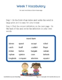 Grade 4 Spelling and Vocabulary-Week 1