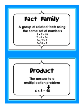 Vocabulary for Basic Math Fact Multiplication