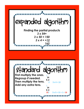 Multi Digit Multiplication Vocabulary