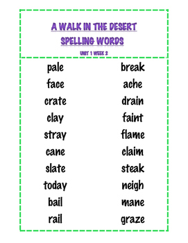 Treasures Weekly Spelling and Reading Vocabulary Words Grade 4