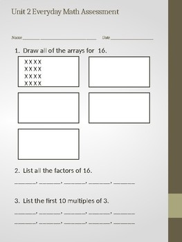 Grade 4 Unit 2 Everyday Math Assessment (Modified)