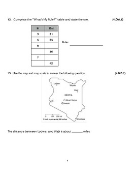 Grade 4 Unit 3: Standard Based Assessment geared towards Everyday Math Units