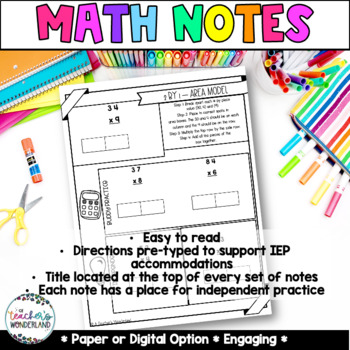 Grade 4- Unit 4 - Guided Math Notes Multiplication 3 digits by 1 digit