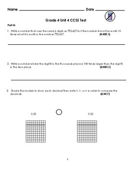 Grade 4 Unit 4: Standard Based Assessment geared towards Everyday Math Units