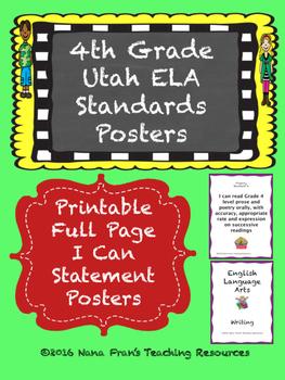 Grade 4 Utah ELA I Can Statement Posters