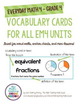 Grade 4 Vocabulary Cards for Everyday Math 4 (EM4)