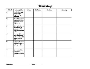 Grade 4 Vocabulary: Context Clues Activity 1