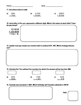Grade 4 Whole Numbers Assessment