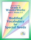 Grade 4 WonderWorks Unit 1  Weeks 1-5   Modified Vocabular