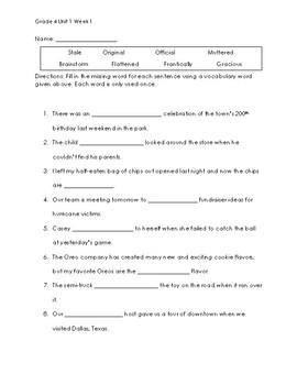 Grade 4 Wonders Unit 1 Week 1 Vocabulary Quizzes
