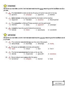 Grade 4 Wonders ELA McGraw Hill: Unit 4: Vocabulary Test
