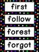 Grade 4 Word Wall Words - Colorful Polka dots on Black Frame