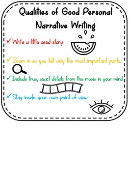 Grade 4 Writer's Workshop - Narrative Writing - Posters