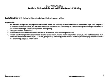 Grade 4 Writing Workshop Unit of Study - Realistic Fiction