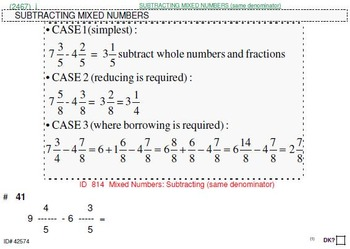 Grade 4 FRACTIONS UNIT 5: [ADD,SUBTRACT mixed nos.] (4 worksheets & 7 quizzes)