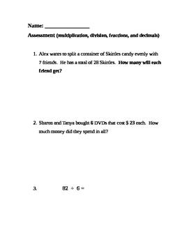 FREE-Grade 4 multiplication, division, fractions, decimals assessment