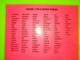 Grade 4 to 6 Sight Words, Word Wall