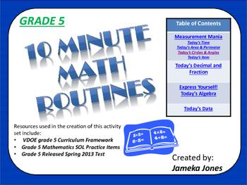 Grade 5 10 Minute Math Activities