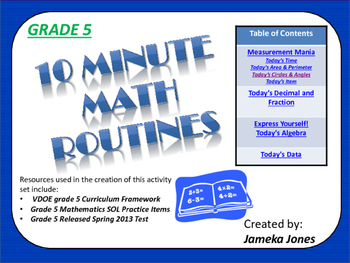 Grade 5 10 Minute Math Activities