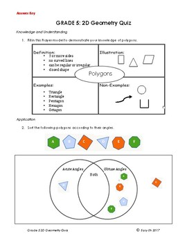 Grade 5 2D Geometry Polygons and Triangle Quiz/Test