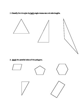 Grade 5 - 2D Geometry (angles and polygons) Test