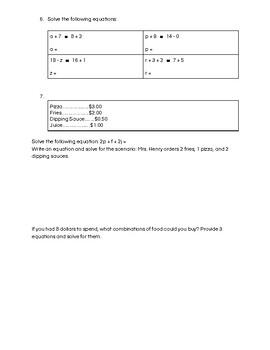 Grade 5/6 Algebra Test