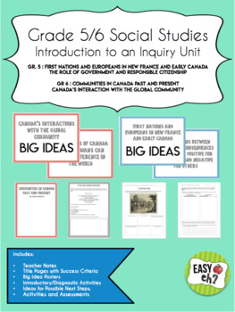 Grade 5/6 Social Studies Introduction to an Inquiry Unit BUNDLE