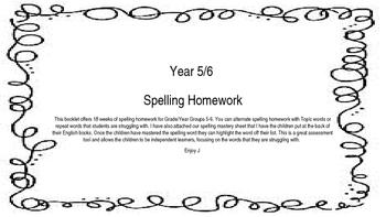 Grade 5-6 Spelling Homework