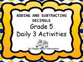 Grade 5 Adding and Subtracting Decimals  Math Daily 3 Unit