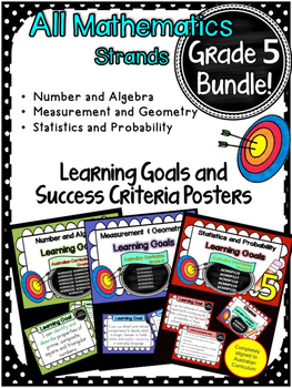 Grade 5 All Mathematic Strands Learning Goals & Success Criteria BUNDLED!