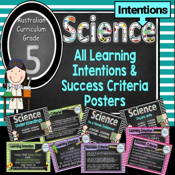 Grade 5 All SCIENCE Learning INTENTIONS/success criteria posters Aust Curric.