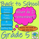 Grade 5 Back to School Bundle - Assessment, Target Setting and Teaching