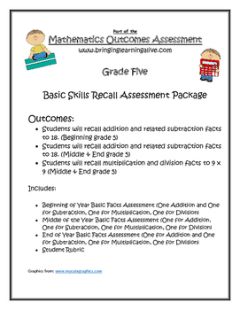 Grade 5 - Basic Facts Progression Assessment