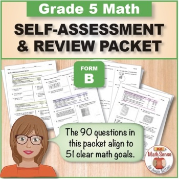 Grade 5 CCSS Math Self-Assessment and Review Packet ~ Form B