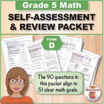 Grade 5 CCSS Math Self-Assessment and Review Packet ~ Form D