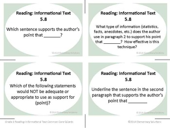 Task Cards - EDITABLE Text-Based Questions for ANY NONFICTION TEXT - Grade 5