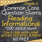 Reading: Informational Texts Annotated Standards and Question Stems - Grade 5