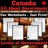 Canada Government Worksheets (Levels, Types, Decision Making)