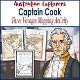 Australian Explorers - Captain James Cook - 3 Voyages Mapping Activity