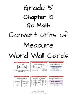 Grade 5 Chapter 10 Converting Units of Measure Word Wall Vocabulary Cards