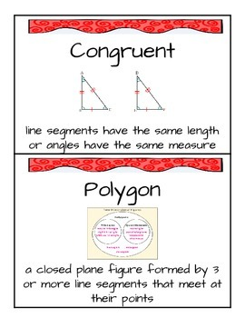 Grade 5 Chapter 11 Geometry and Volume Word Wall Vocabulary Cards