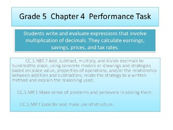 Grade 5 Chapter 4 Performance task as PDF
