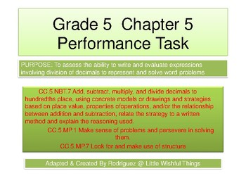 Grade 5 Chapter 5 Performance task as PDF