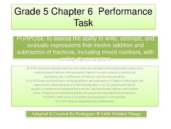 Grade 5 Chapter 6 Performance task as PDF